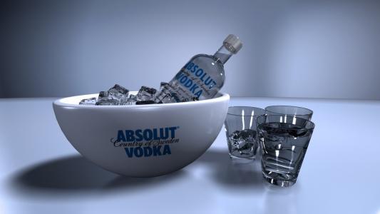 伏特加酒,瓶,绝对,酒精,冰,眼镜,绝对,伏特加,酒精,1920x1080