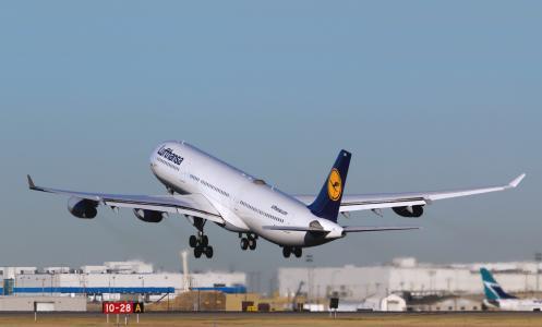 汉莎航空,起飞,空中客车,一天,飞机,a340