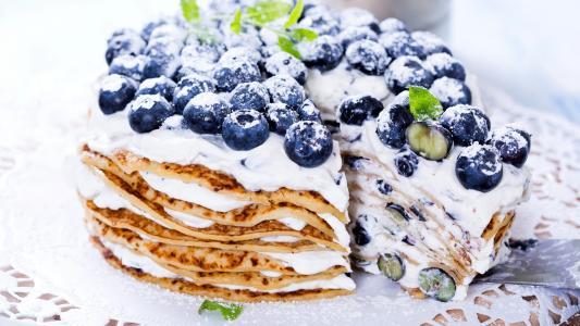蛋糕,煎饼,浆果,蓝莓,蓝莓,葡萄,奶油,甜,糖果,甜点