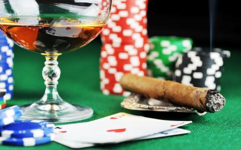 干邑,雪茄,筹码,扑克,赌场,卡片,王牌,烟灰缸