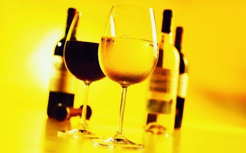 酒,眼镜,瓶子