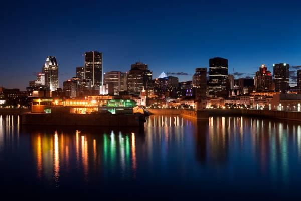 河,午夜,城市,午夜,城市,加拿大,蒙特利尔,建筑,建筑物,蒙特利尔,加拿大,河流
