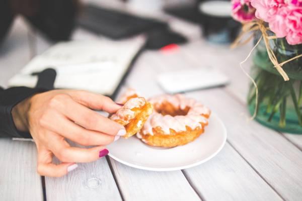 甜甜圈送达白色碟子高清壁纸