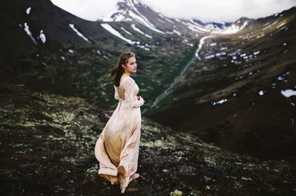 查看,女孩,雪,礼服,山