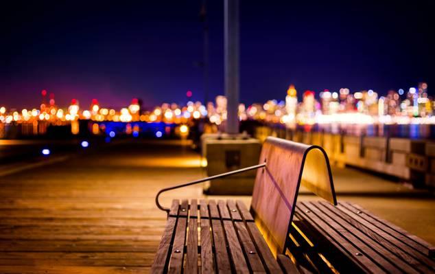 不列颠哥伦比亚省,光,北温哥华,城市,灯光,散景,晚上,码头,长椅,加拿大
