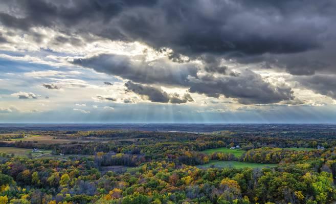 威斯康星州,云,艾琳,太阳的光线,风暴,秋天,美国