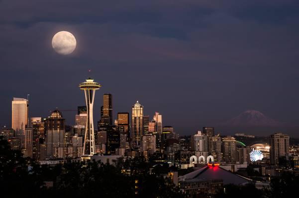 太空针塔夜间全景摄影,西雅图高清壁纸