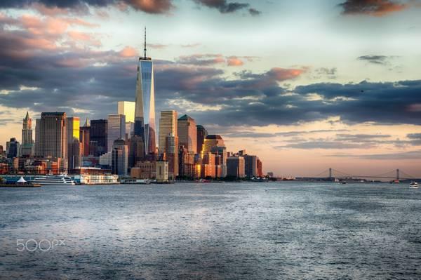 美国,城市,海洋,纽约,桥梁,海洋