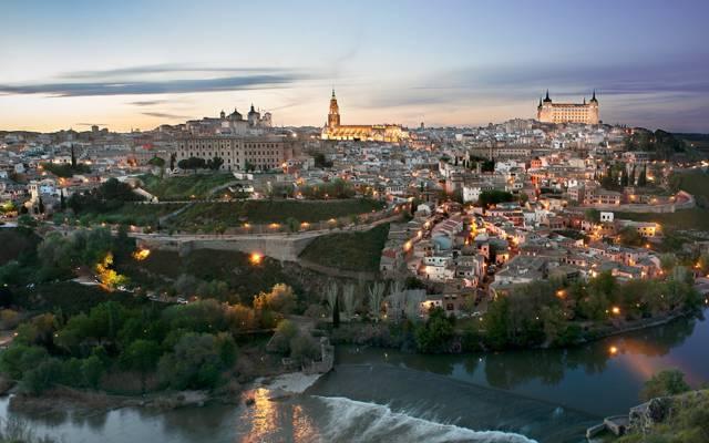 西班牙,家,城堡,灯光,晚上,托莱多,天空,河流,景观