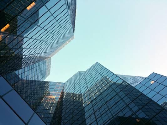 蠕虫眼睛查看城市建设高清壁纸