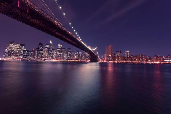曼哈顿,摩天大楼,布鲁克林大桥,布鲁克林大桥,曼哈顿,城市,灯光,纽约市,东河,...  -