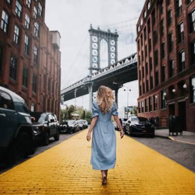 跟踪,纽约,建设,女孩,心情,桥,街道