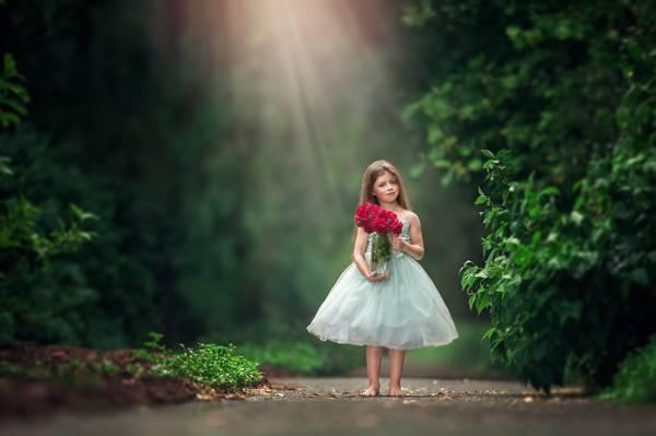 女孩,鲜花,散景,花束,赤脚,玫瑰,礼服