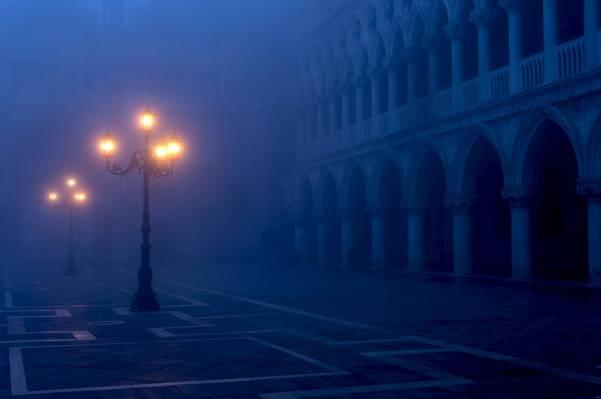 圣马可广场,圣马可广场,威尼斯,意大利,灯光,灯光,雾,城市,傍晚,...
