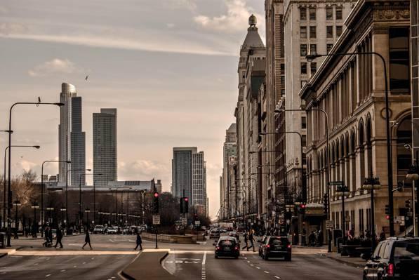 芝加哥,摩天大楼,伊利诺斯,运动,人,机器,城市,街道
