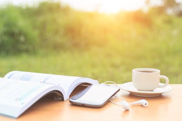 早上,早上,表,耳机,书,碟,所有者,心情,积极,背景,夏天,杯,好主意,模糊,...