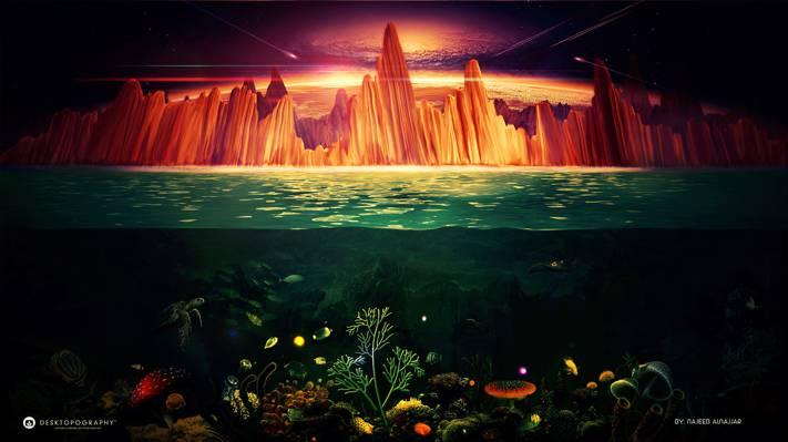 陨石,发光,海,珊瑚,海底世界,乌龟,天空,岩石,desktopography