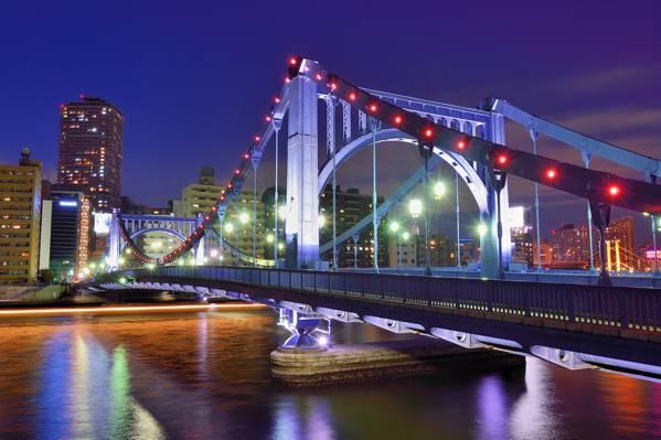 壁纸megapolis,摩天大楼,首都,照明,灯,首都,夜,建筑,河,东京,日本,桥,家,日本,蓝色,...