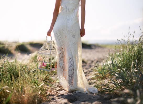 鲜花,婚礼,新娘,女孩,性质,草
