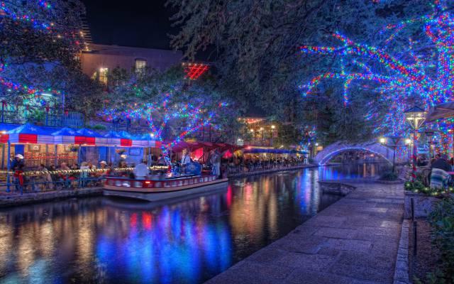 得克萨斯州,得克萨斯州,假期,晚上,晚上,圣安东尼奥,圣安东尼奥,圣诞灯