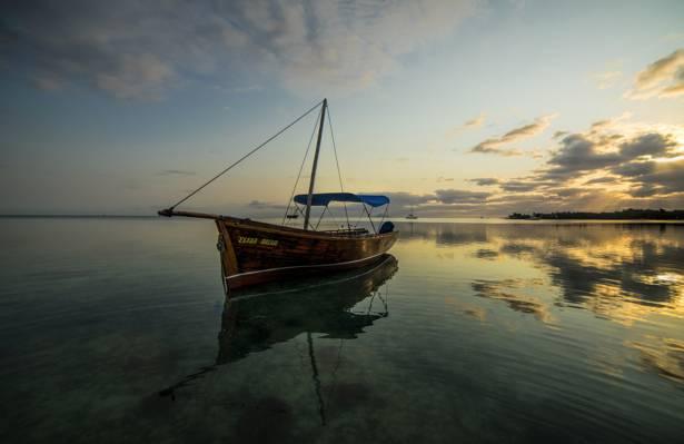 海,船,毛里求斯,印度洋,云