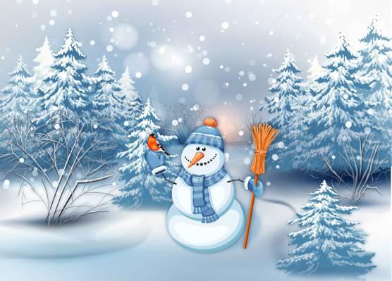 雪人,树,图形,假期,降雪,冬天,鸟,吃,图,胡萝卜,完整的衣服,红腹灰雀,森林,扫帚,...