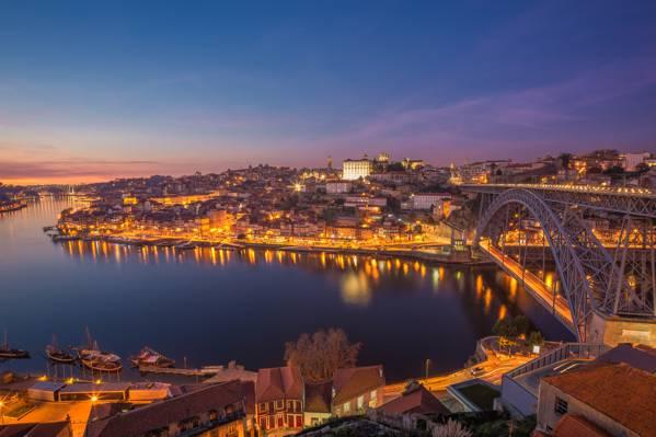 灯,波尔图,桥,黎明,葡萄牙,河,城市