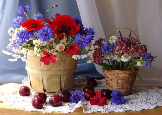 浆果,篮子,静物,鲜花,花束