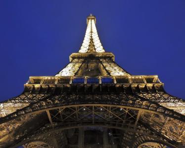 埃菲尔铁塔, 埃菲尔, 塔, 巴黎, 法国, 点亮, 光