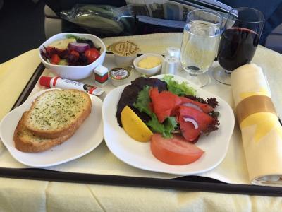 in-flight 餐, 商务级, 食品, 顿饭, 面包, 番茄, 午餐
