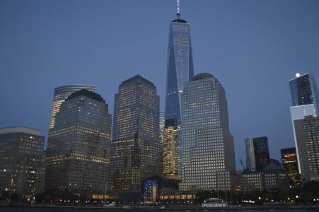 纽约, 一个世界贸易中心, 1世贸中心, 晚上, 纽约城, 天际线, 黑暗