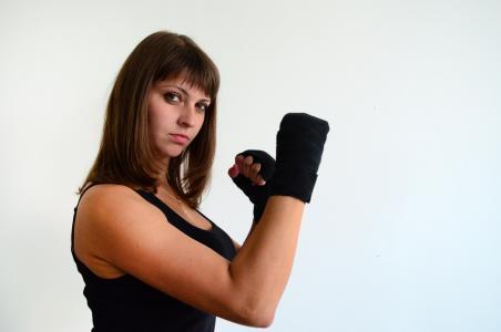 女孩, 手套, 体育, 拳击, 拳击绷带