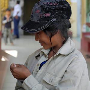缅甸, 女人, 儿童, 学生, 害羞, 缅甸, 女孩