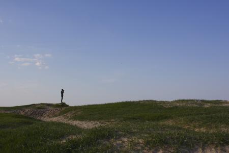 人, 站, 绿色, 涂, 小山, 清除, 天空