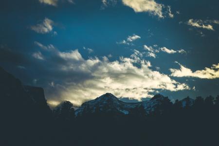 雪, 覆盖, 山, 蓝色, 天空, 山脉, 高峰