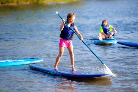 桨板, 湖, 水, 桨, 董事会, 夏季, 体育