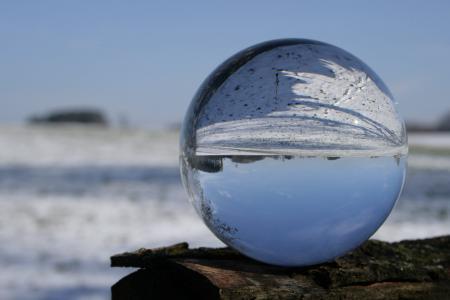 玻璃球, 照片, 颠倒了, 冬天, 寒冷, 镜像, 雪