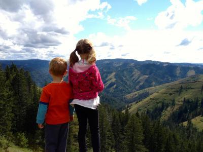 儿童, 徒步旅行, 自然, 景观, 山景, 视图, 瞭望