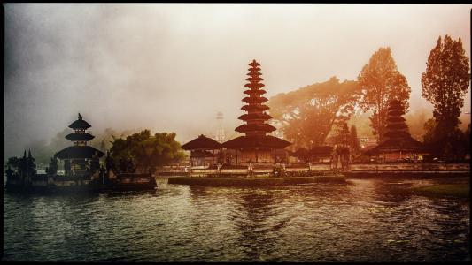 寺, 巴厘岛, 湖, 雾, 旅行, 印度尼西亚