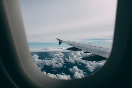 灰色, 飞机, 白色, 云彩, 飞行, 天空, 飞机