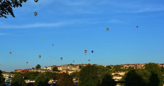 热气球, 蓝色, 天空, 布里斯托尔, 建筑, 气球, 英格兰