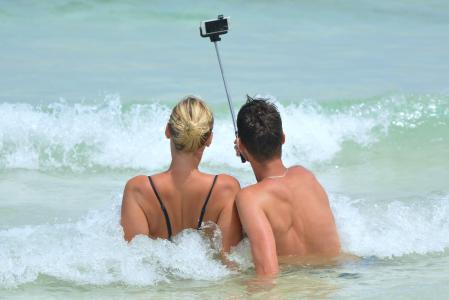 自拍照, 人, 男子, 女人, selfiestick, 海洋, 海