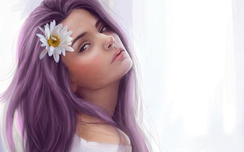 美丽的紫色头发