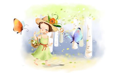 女孩与蝴蝶走长时间